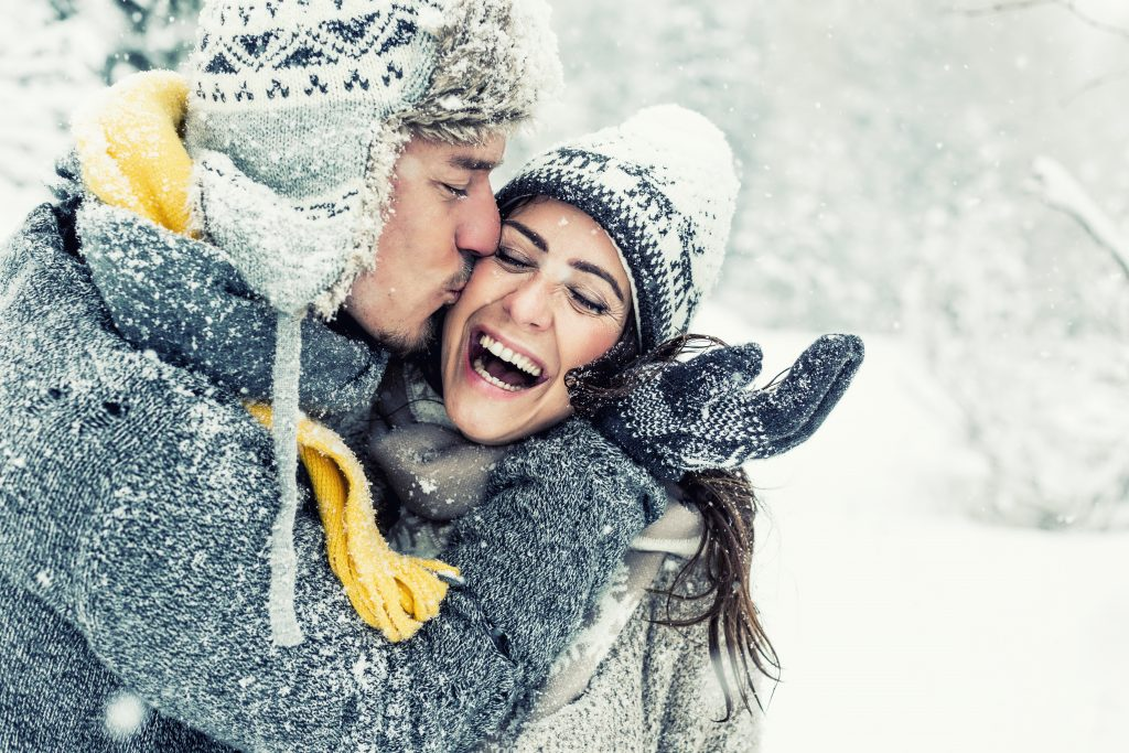 happy love couple in winter